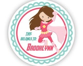 Name Label Stickers - Mint Green Pink Super Hero, Super Girl Name Tag, Girl Superhero Personalized Name Sticker - Back to School Name Labels