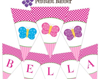 Butterfly Banner - Pink Stripes, Polka Dots, Cute Blue Pink Purple Butterflies Personalized Birthday Party Banner - Digital Printable File