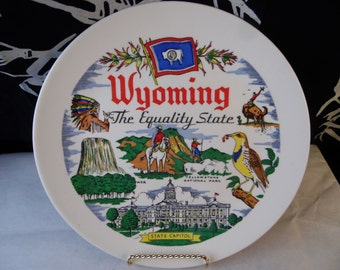 Wyoming - Souvenir Plate -  Circa 1960's The Equality State Historic Plate - Shabby Chic