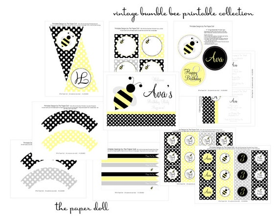 Bee-utiful Vintage Bumble Bee Printable Party Full Printable Party Collection : Printable Party Designs by The Paper Doll