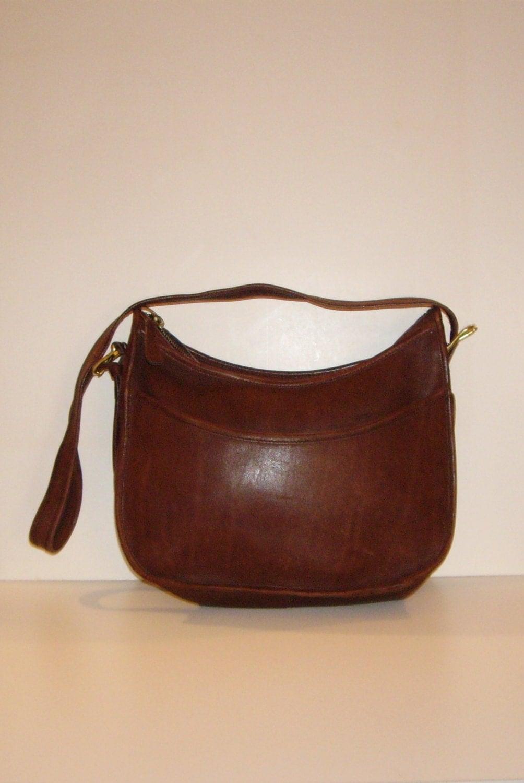 COACH Large Zip Top Hobo Bag Vintage Mahogany Brown Leather