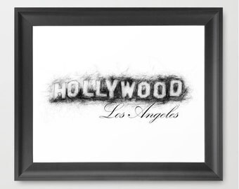 Hollywood, Los Angeles, California INSTANT DOWNLOAD, home decor, travel art, download, Hollywood sign, home decor, Christmas present