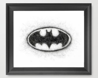 Batman Symbol Black and White INSTANT DOWNLOAD, digital art, printable decor, comic book art, room decor, wall art, child bedroom
