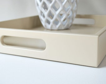 Serving Tray with Handles, Decorative Tray for Coffee Table, Ottoman Tray, Kitchen Storage, Coffee Table Decor, Beige Tray