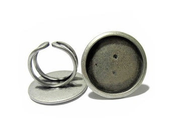 Brass Bezel Ring Blanks Adjustable with 25mm Round Bezel Tray for Cabochon or Cameo Making DIY Rings Findings for Women ID 10412