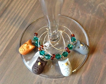 Owl Wine Charms