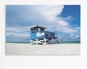 Ocean Landscape Photography Venice Florida Beach Blue Lifeguard Shack