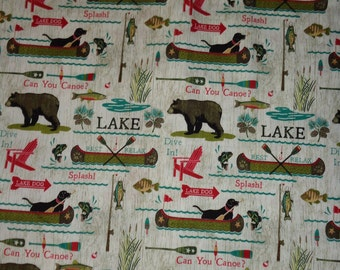 Woodland/Canoe/Bear/Fishing/Lake Cotton Fabric by the Half Yard