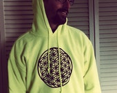 Flower of Life Sacred Geometry Hoodie Neon Pullover Hand Painted