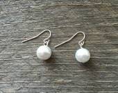 White Pearl Earrings Bridal Earrings Single Pearl on Silver or Gold French Wire Hook
