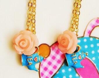 Quintessentially British: Tea for 2! friendship necklaces, x2 cute miniature teapot necklaces <3