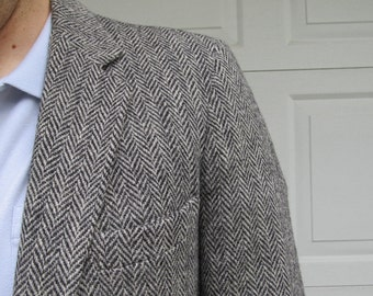 1980s men's gray Harris Tweed wool sportcoat, handwoven tweed, vintage tweed blazer, 39L