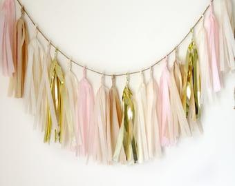 BLUSH & SHINE - Tissue Paper Tassel Garland  - Party - Wedding - Baby Shower - Nursery