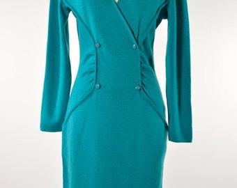 ON SALE Knit SWEATER Dress: Italian Knit Sweater Dress // Teal Sweater Dress // Body Con Mini Sweater Dress // 80s Knit Dress // Avant Garde