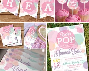 Ready To Pop Baby Shower Printables in Whites and Pinks - Girl Baby Shower Invitation - Instant Download and Edit with Adobe Reader