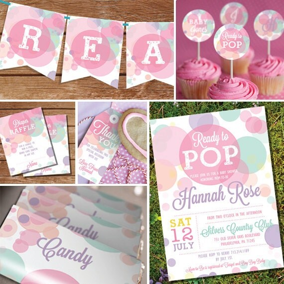 ready to pop baby shower printables in whites and pinks girl baby