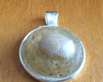 Popponesset beach sand / seashell pendant (c)