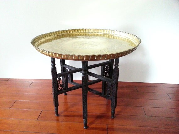 Brass Tray Top Table Vintage Side Accent Tray Table Carved