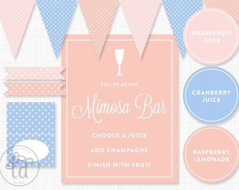 Mimosa Bar Printables - Signs, Pennant Banner, Tags, Flags - INSTANT DOWNLOAD