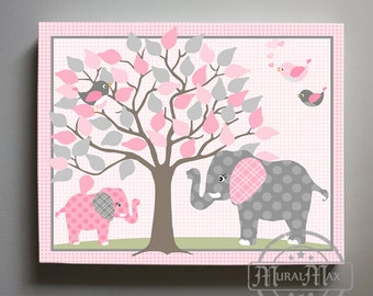 Pink and Gray Elephant Nursery Art - Canvas Art , Jungle Nursery Decor  - Girl Room Decor - Canvas Print Baby Girl Elephant Nursery Decor