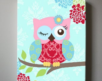 Baby Girl Floral Nursery Decor Pink and Aqua Owl Nursery Canvas Art - Girls wall art - OWL canvas art, Baby Girl Nursery Art