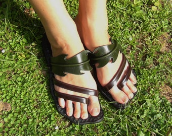 Leather Sandals Women and Men **sandals leather craft original design from nature** ***Dandelion right side design***