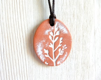 Essential Oil Diffuser Natural Healing Clay Pendant Necklace Shabby Chic Boho White Washed Aromatherapy Jewelry Terracotta Botanical Nature