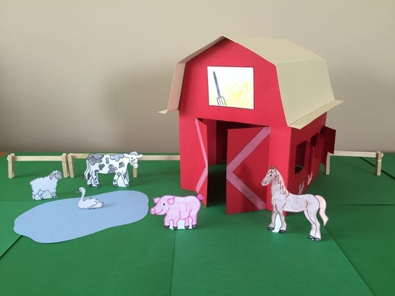 3d paper barn craft instant download for Build a 3d house online
