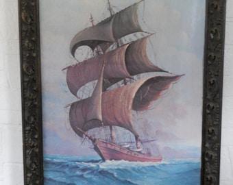 Nautical Art Print Andres Orpinas Nautical Artwork Cottage Decor Sailing Ship Sea Art Print Sea Decor Ship Decor Large Ornate Frame Vintage