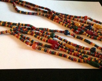 Vintage Multi Strand Multi Colored Carved Bead Necklace