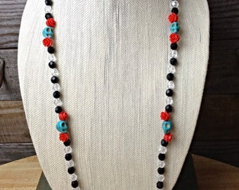 "Handmade ""Dia de los Muertos"" Necklace. Red rose, turqouise skull beads with clear and black beaded detail"