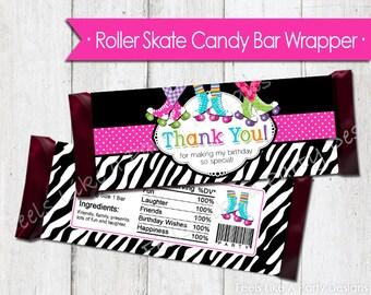 Pink Roller Skating Candy Bar Wrapper - Instant Download