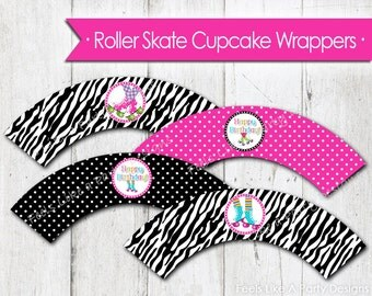 Pink Roller Skate Cupcake Wrappers - Instant Download
