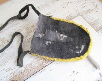 Felted Merino Wool, Hand- wet felted,bag Black purse,Treasure Pouch, black felt bag, felt bag Medicine