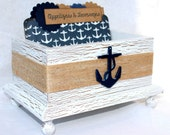 RECIPE BOX, Anchor Recipe Box, Anchor Dividers, Navy Blue and White, Rustic Burlap, Rustic White Box, Nautical Bridal Shower, Custom Colors