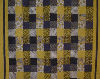 Yellow and Grey Shadowbox Patchwork Lap Quilt