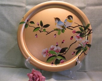 Elite Gold Round TinTray with Birds and Flowers, Cherry Blossoms, Made in England