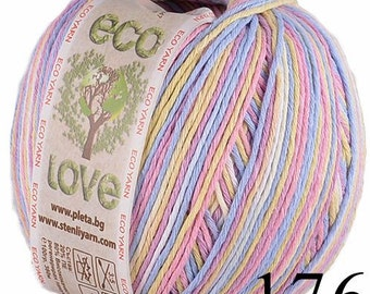 Hypoallergenic baby friendly soft regenerated multicolour eco cotton yarn