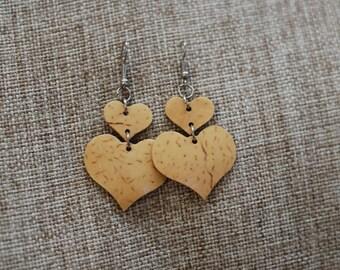 Beautiful hearts young coconut shell earrings