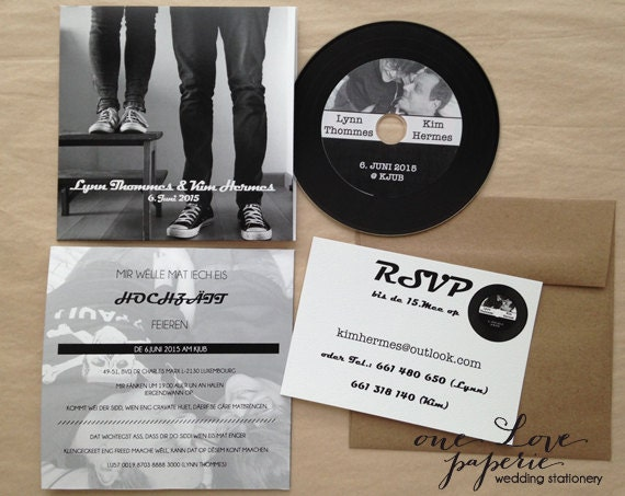 Custom CD record style Wedding Invitation
