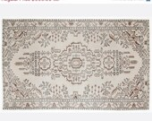 ON SALE 5,6 x 9,2 FT___170 x 280 Cm               Vintage White  handmade faded-distressed overdyed rug Free shipping (5553)