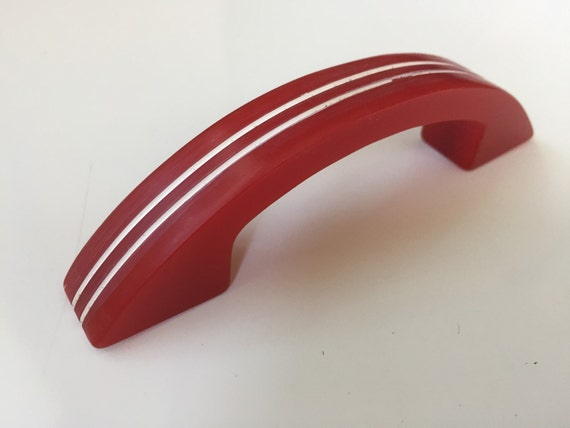 Vintage Red Art Deco Bakelite Cabinet Pulls By