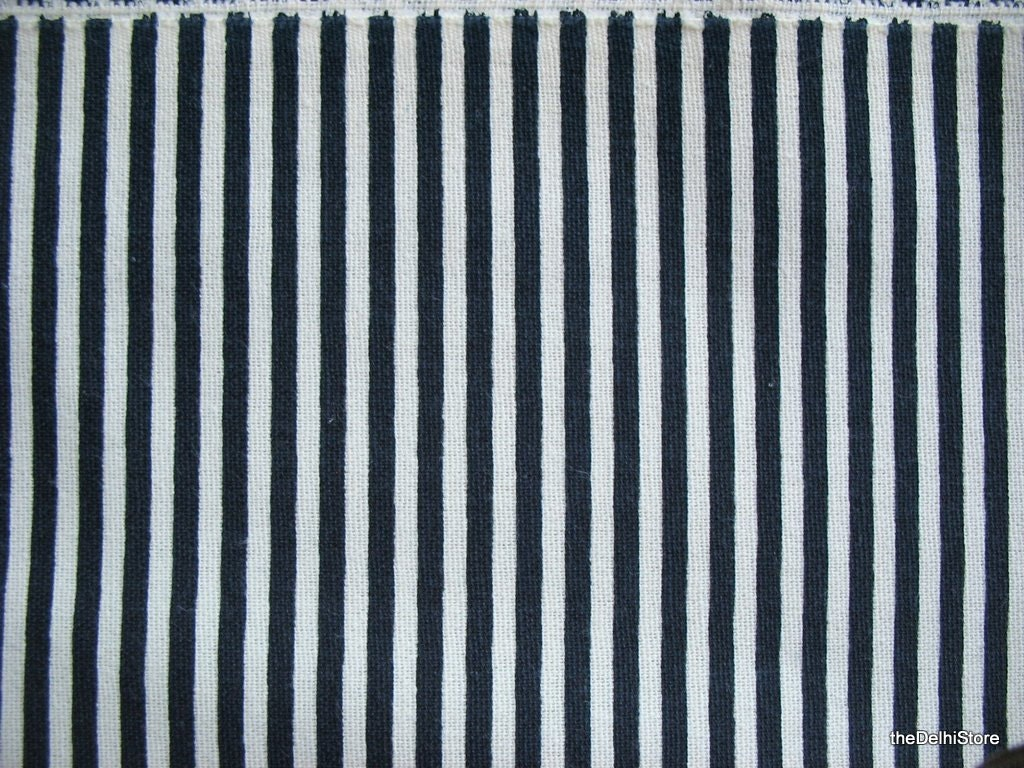 Black And White Stripes Print Striped Cotton Canvas Fabric