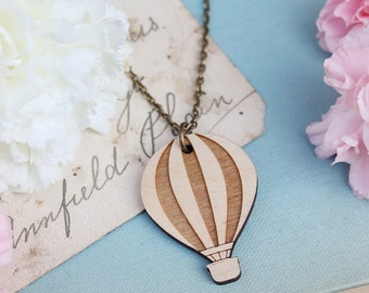 Laser Cut Wooden Hot Air Balloon Necklace