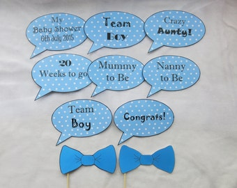 10 Personalised Baby Boy Girl Shower Speech Bubble Photo Booth Prop Signs  Pink Or Blue