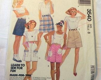 "1980s Short Straight Skirt High waisted Pockets sewing pattern McCalls 3540 Size 8 Waist 24"" UNCUT FF"