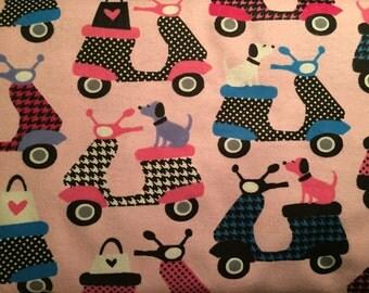 FLANNEL - Pink Vespa Fabric - Pink Vespa Flannel - Motor Scooter Fabric - Moped Fabric - Moped Flannel - Dog Fabric - Dog Flannel