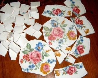 Broken China, China Focal,Mosaic Supplies, Hand Cut China,  Roses, Mosaic Tiles,  Vintage China