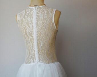 Tulle Wedding Dress, Sheer Wedding Dress, Lace Wedding Dress, Vintage