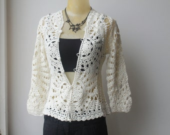 Crochet Cardigan, White Crochet Top, Three Quarter Sleeve, Vintage